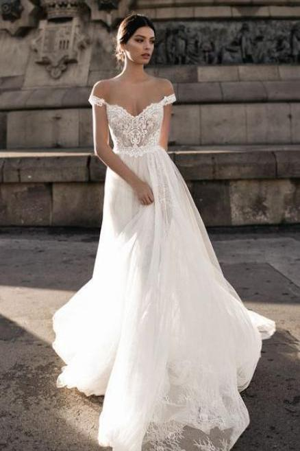 2018 New Arrival Popular Wedding Dress,White Lace Bridal Dress,Sexy Off The Shoulder Long Train Wedding Dress