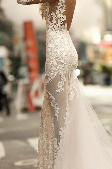 New Fashion 2018 Charming Wedding Dress,Mermaid White Lace Bridal Dress,Sexy Open Backless Wedding Dress,Long Sleeves See Through Wedding Gown