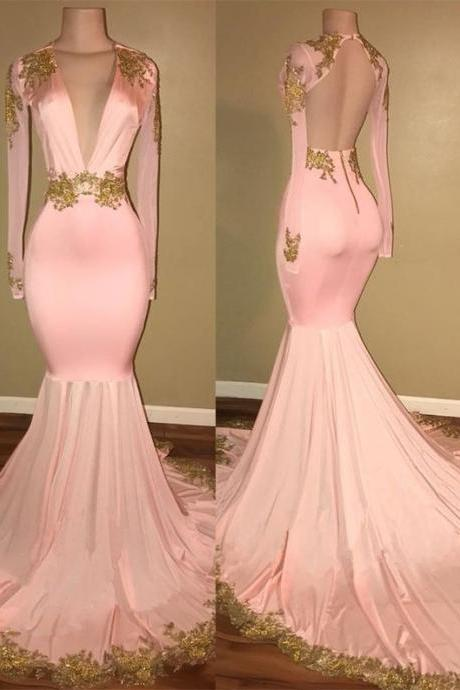 Charming Pink Long Prom Dress, Long Sleeves Party Dress, Mermaid Prom Dress,Sexy Backless Evening Dress