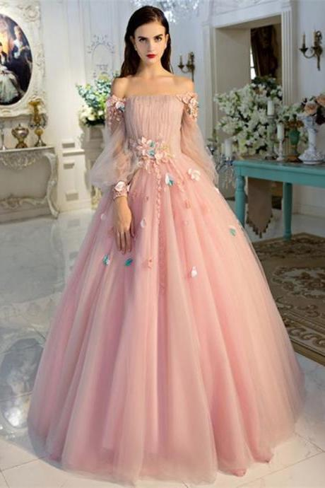 Pink Off-the-Shoulder Floral Appliqués Ball Gown Prom Dress, Evening Dress, Quinceanera Dress with Long Puffed Sleeves