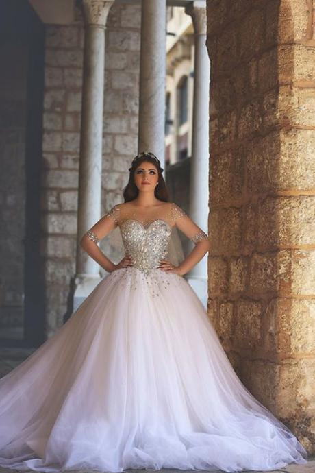 Charming White Beaded Wedding Dress,Sweetheart Prom Dress,Tulle Luxury Evening Ball Gown,Middle Sleeves See Through Quinceanera Dress