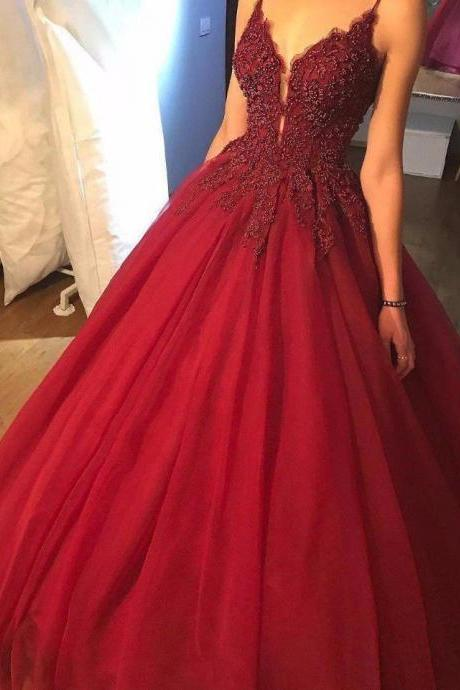 Spaghetti Straps Ball Gown,Appliques Beaded Prom Dress,Burgundy Evening Dress,Beading Party Dress,Tulle Long Prom/Evening Dress with Sexy V-Neck