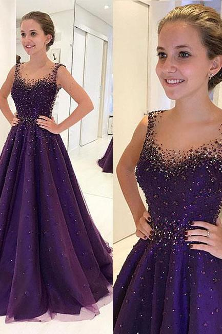 New Fashion Purple Prom Dress,Beaded Sleeveless Party Dress,A-Line Evening Gown