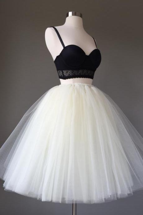 Straps Prom Dresses, Black and White Short Prom Dresses, 2018 Two Pieces Homecoming Dress, Sexy Ball Gown, Tulle Mini Party Dress