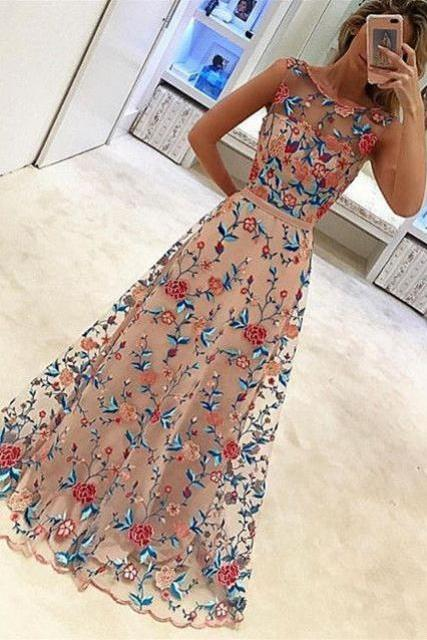 embroidery floral homecoming dress, appliques 2017 homecoming dress, long home coming dress, floor length party dress