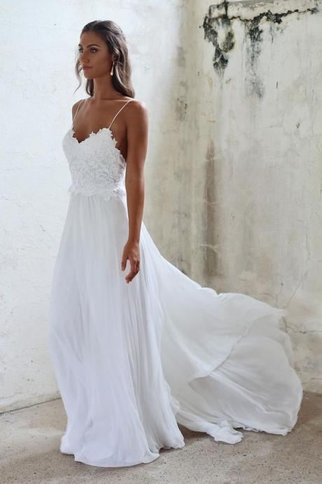 Popular White Wedding Dress,Spaghetti Straps Bridal Dress,Beach Wedding Dress,Chiffon Lace Elegant Bridal Dress