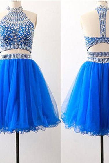 Charming Royal Blue Homecoming Dress,Beads 2 Pieces Short Dress,Mini Organza Graduation Dress