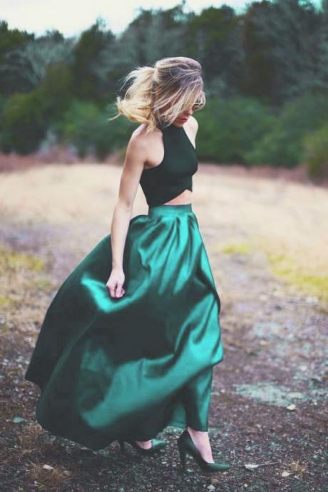 2018 Green Prom Dress,Two Pieces Evening Dress,Satin Sleeveless Prom Gown,Floor Length Party Dress
