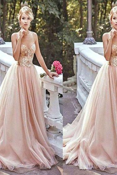Long Sparkly Vintage Ball Gown With Straps Sweetheart Lace Chiffon Tulle Champagne Evening Gowns Prom Dresses