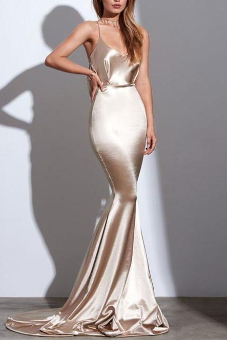 Charming Long Prom Dress,Spaghetti Straps Popular Simple Evening Party Dress,Mermaid Sexy Evening Gown