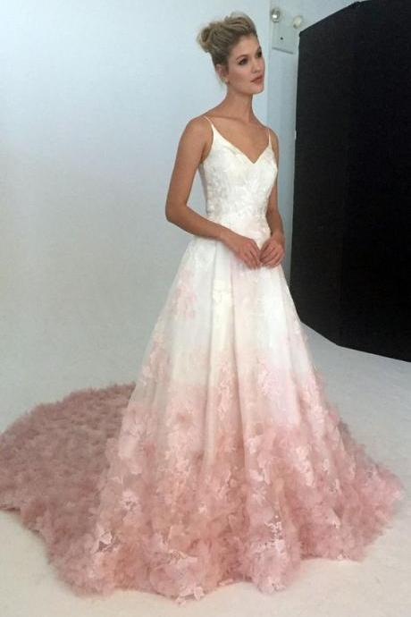 Stunning White&Pink Long Prom Dress,Spaghetti Straps A-Line Evening Dress,Flowers Appliques Party Gown