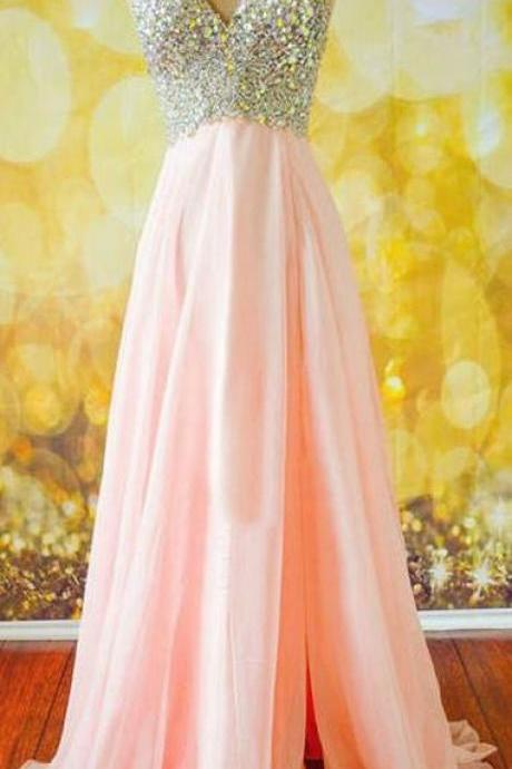Beaded Prom Dress,V Neck Prom Dress,Maxi Prom Dress,Fashion Prom Dress,Sexy Party Dress, New Style Evening Dress