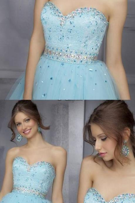 Rhinestone Light Blue Homecoming Prom Dresses Fetching Short Sweetheart Sleeveless Backless Dresses