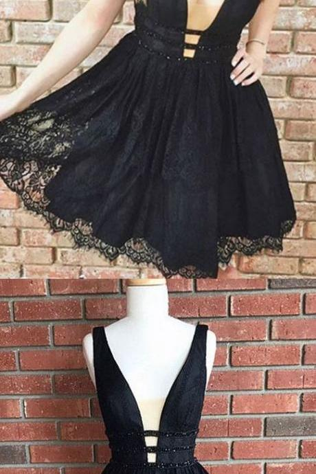 Black Prom Dresses, Short Homecoming Dresses, Sexy Black Lace Homecoming Dress,Short V Neck Party Dresses,Black Prom Dresses