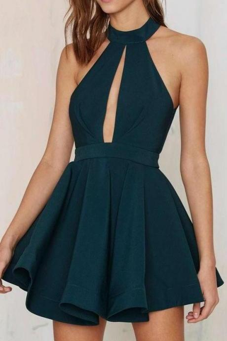 Outlet Dark Green Homecoming Prom Dress Admirable Short Prom Dresses With A-line/Princess Backless Keyhole Dresses