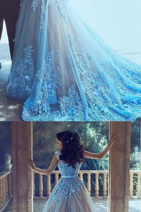 Sleeveless Wedding Dress Long Blue Wedding Dresses With Tulle Zipper Sequin Trendy Dresses