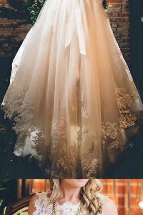 Long A-line/Princess Wedding Dresses, White Sleeveless With Applique Sweep Train Wedding Dresses