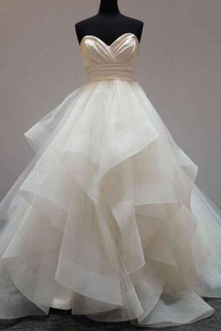 Outlet White Ball Gown Wedding Dresses Fetching Long Sweetheart Wedding Dresses With Ruffles Zipper Dresses