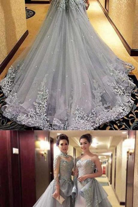 Princess Prom Dresses, Long Sleeves Prom Dress, Tulle Evening Dress, Gray Evening Dresses, Long Formal Dresses