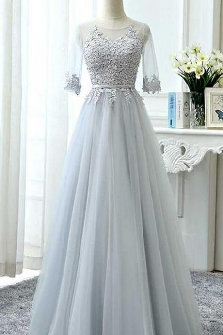 Sexy Long Prom Dress,Top Lace Prom Dress,Cheap Prom Dress,Gray tulle lace long prom dress, tulle lace bridesmaid dress, lace wedding party dress