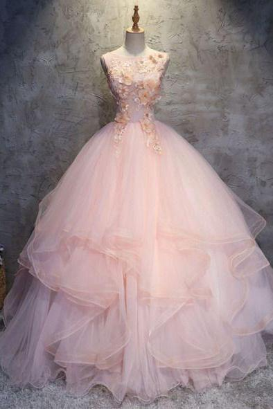 Ball Gown pink o-neck quinceanera Open Back Champagne appliques Tulle Ruffle Quinceanera Prom Dress