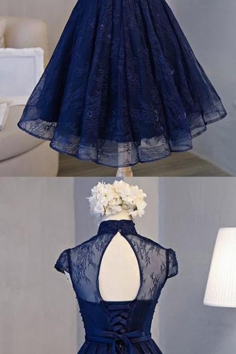 Blue Short Homecoming Dresses Vintage A-line Knee-length High Neck Style With Lace
