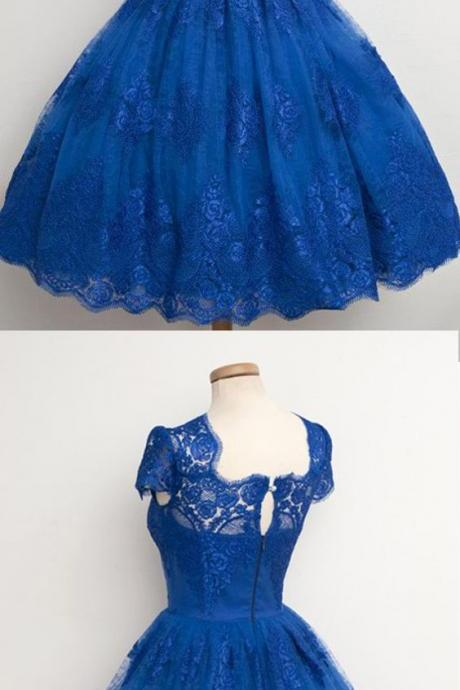 Luxurious Royal Blue Homecoming Dress,Scalloped-Edge Ball Knee-Length Dress,S