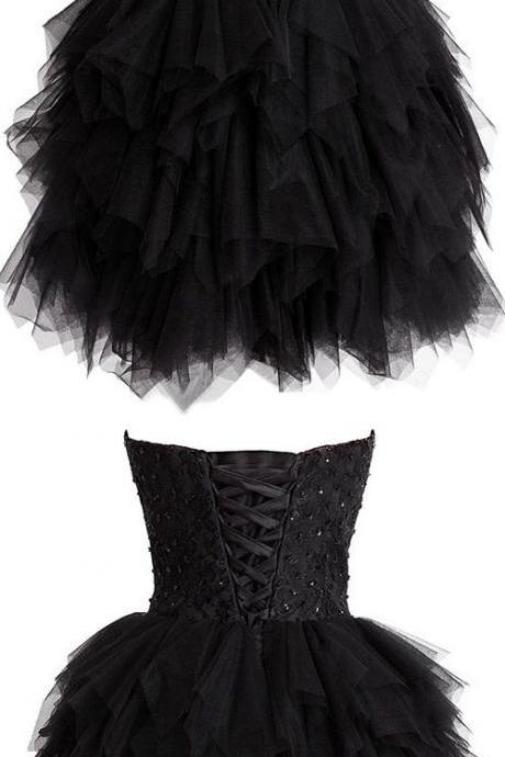 Luxurious Royal black Homecoming Dress, strapless Knee-Length Dress,S