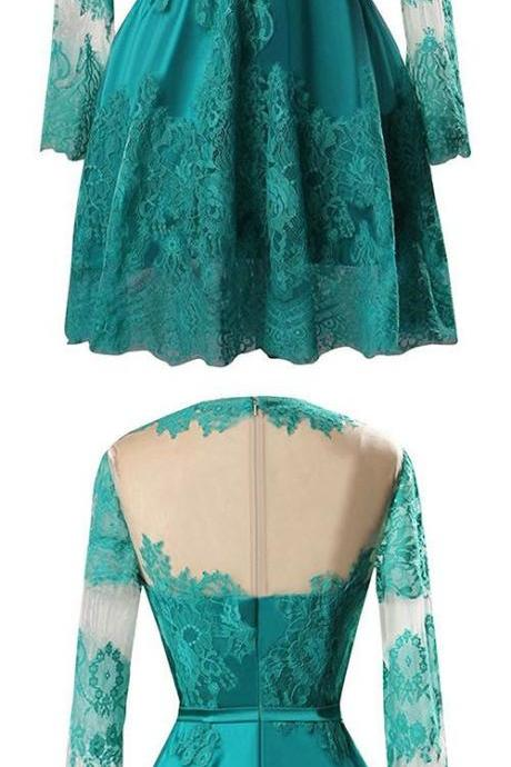 New Style A-line Scoop Neck Satin Tulle Short/Mini Appliques Lace Long Sleeve Prom Dresses