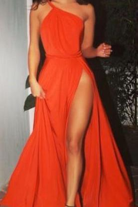 Trendy spaghetti one shoulder high silt Burgundy Long Prom Dress with Sweep Train