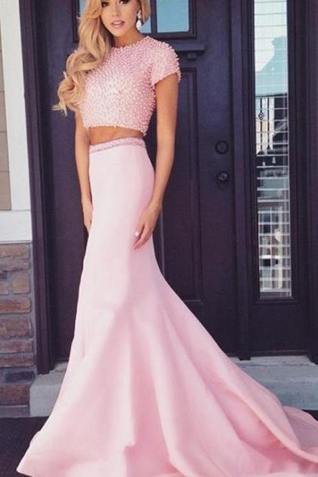 Pink Prom Dresses, Two Piece Evening Dresses, Two Piece Pink Evening Dresses With Beaded/Beading Sweep Train Round Sale Online
