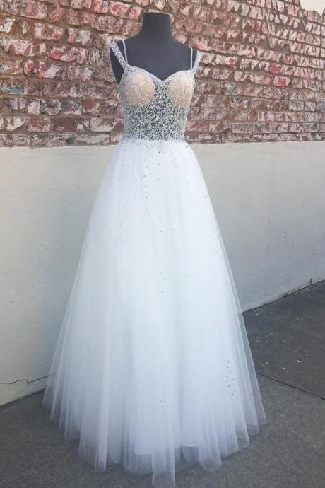 WHITE SWEETHEART NECK TULLE ,BEADS, LONG PROM DRESS, WHITE EVENING DRESS,CUSTOM MADE ,2018 NEW FASHION