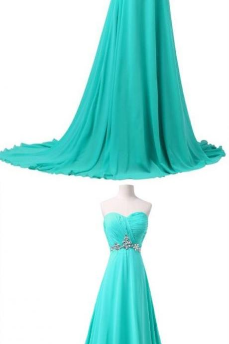 Princess Prom Dresses, Light Blue Prom Dresses, Long Prom Dresses With Rhinestone, Sleeveless Sweetheart ,Sexy Evening Dress,Custom Made ,New Fashion