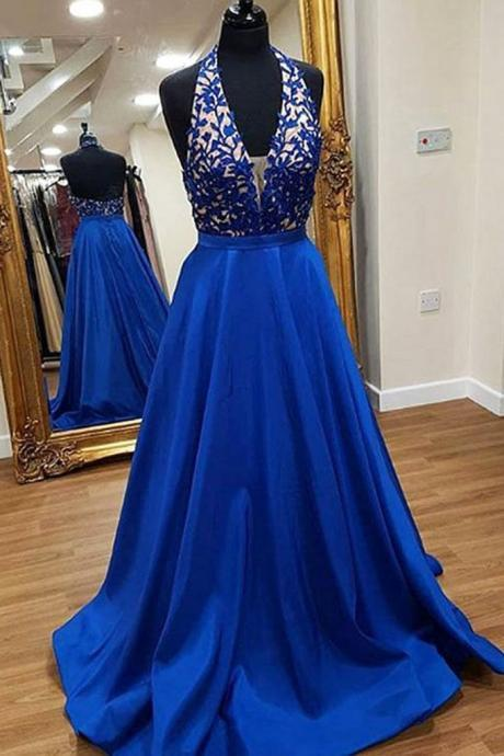 Elegant royal blue satin, backless long ,lace appliqués sweet prom dress, long A-line graduation dress,Sexy Custom Made ,New Fashion