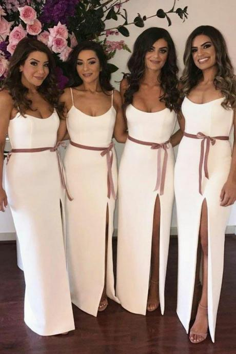Spaghetti Straps ,Floor-Length ,Split Bridesmaid Dress with Sash ,Long Bridesmaid Dresses for Bridal Party,Sexy Custom Made ,New Fashion