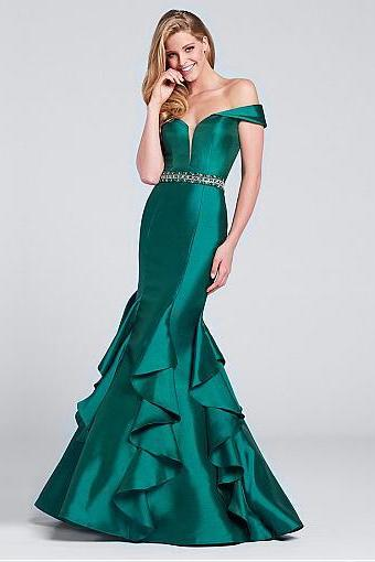 Delicate Taffeta ,Off-the-shoulder Neckline ,Mermaid Evening Dresses With Beadings, Elegant Evening Dress, Prom Dresses 2018,New Fashion,Custom Made