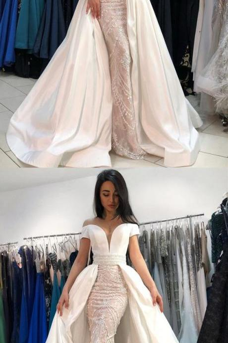 Mermaid Off-the-Shoulder, Short Sleeves Prom Dress with Beading, Luxury Wedding Dress, Affordable Prom Dress