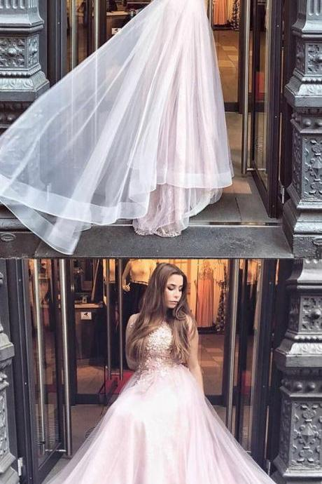 A-Line Round Neck, Long Pearl Pink Tulle Prom Dress with Appliques, Luxury Wedding Dress, Affordable Prom Dress