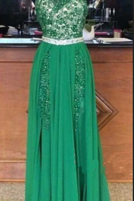 Prom Dress,Halter Prom Dress,Beaded Prom Dresses, Backless Evening Dress, Green Prom Dresses, Cheap Prom Dress, Affordable Prom Dress