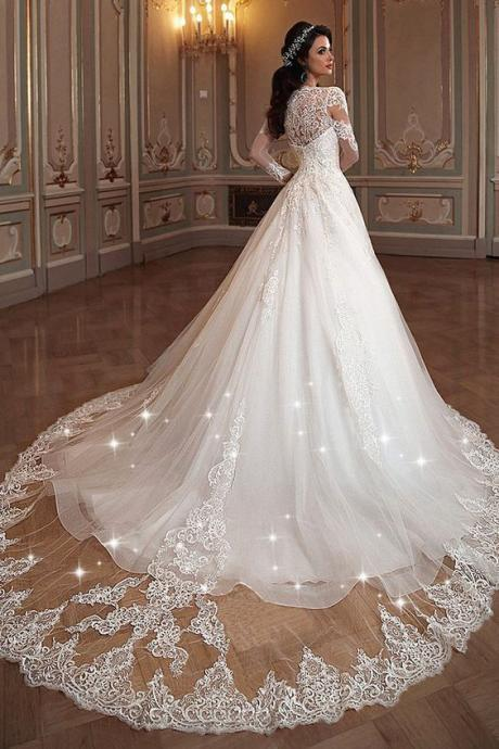 Tulle & Organza, V-neck Neckline, A-line Wedding Dress, Long Sleeves ,Sweep Train,Long mermaid Formal Dresses.2018 new fashion,custom made