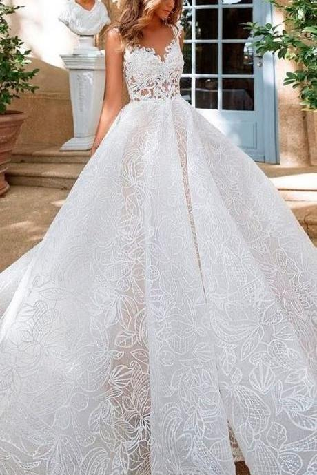 Tulle & Organza, V-neck Neckline, A-line Wedding Dress, Sleeveless ,Sweep Train,Long Formal Dresses. New Fashion,Custom Made