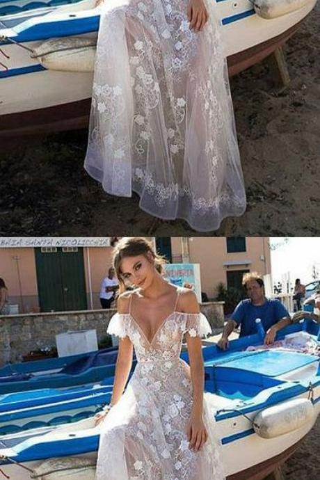 Elegant Deep V-neck ,Cap Sleeves, Lace Wedding Dress, Bride Gown,wedding dresses,White Lace ,Spaghetti Straps Prom/Evening Dress Custom Made