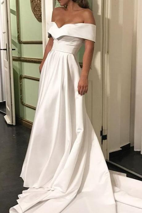 Romantic Off The Shoulder Wedding Dresses, Satin Wedding Dress, Court Train Bridal Wedding Dress, Simple Wedding Gown, Wedding Dress