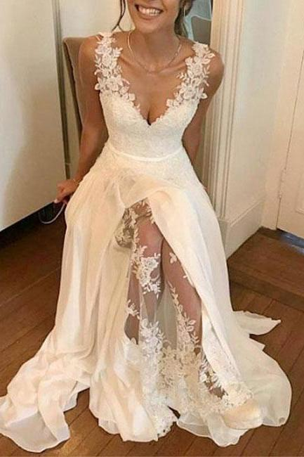 Elegant V-neck , Sleeveless Wedding Dress,Lace Applique Chiffon Bridal Gowns,Floor Length Wedding Dress,See Through Prom/ High Slit Sexy Evening Dress.2018 New Fashion,Custom Made
