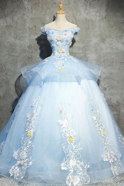 Sweetheart Neckline ,Off Shoulder ,Blue Tulle Sexy Party Dresses ,Floor Length ,Gorgeous Quinceanera ,3D Flower Lace Applique ,2018 New Fashion,Custom Made