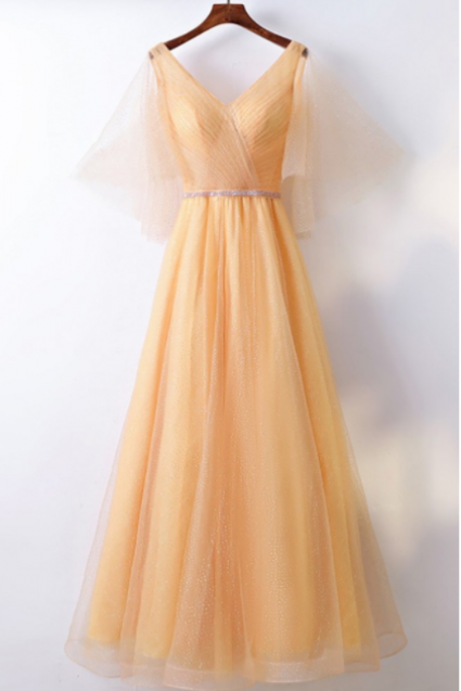 Sexy Long Evening Dress ,Floor Length ,New Fashion,Classy Yellow Long Tulle, Cheap Formal Party Dress, V-neck With Bling