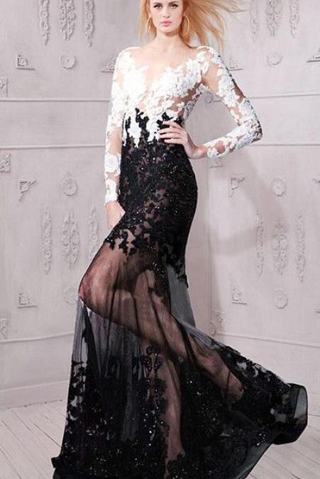 Sexy Evening Dress ,New Fashion,Sexy Evening Dress,Sexy Sheer ,See Through Long Sleeve, Black And White Lace Evening Prom Dress