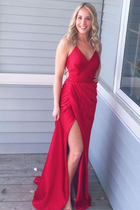 Simply Gorgeous Red Long Prom Dress with Side Slit,Deep V Neck ,Spaghetti Straps Floor Length Evening Dress, Long Prom Dress,Sexy Party Dress,Custom Made Evening Dress