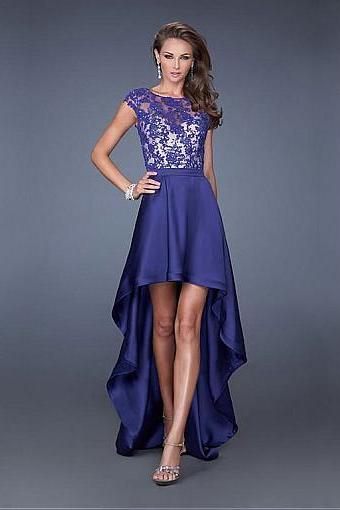 Chic Tulle & Satin ,Jewel Neckline, Hi-lo A-line Homecoming Dress,Sexy Party Dress,Custom Made Evening Dress