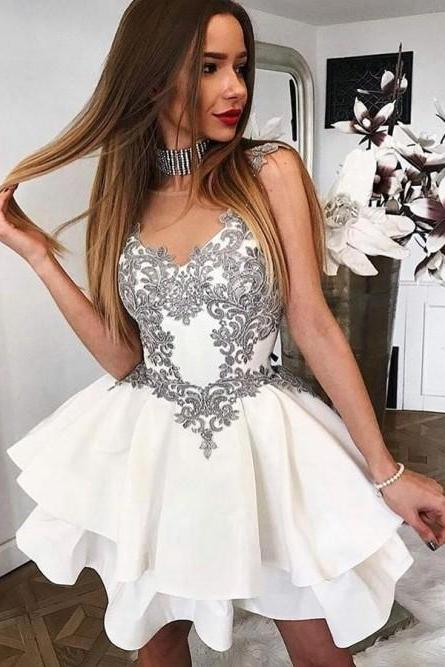 A-Line Round Neck ,Short White Tiered Homecoming Dress with Appliques,Homecoming Dress ,Sexy Party Dress,Custom Made Evening Dress